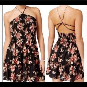 SPRING, SUMMER, Black Floral Strappy Mini Dress
